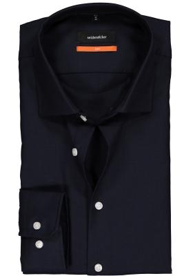 Seidensticker Slim Fit overhemd, donkerblauw structuur