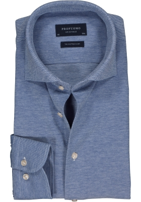 Profuomo Slim Fit jersey overhemd, blauw melange knitted shirt