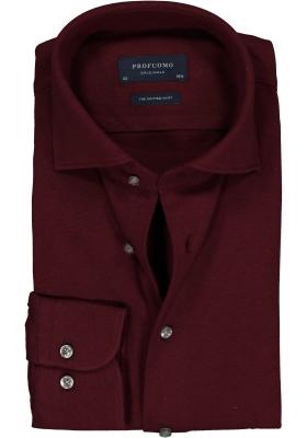 Profuomo Slim Fit jersey overhemd, bordeaux rood melange knitted shirt