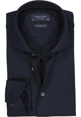 Profuomo Slim Fit jersey overhemd, navy melange knitted shirt
