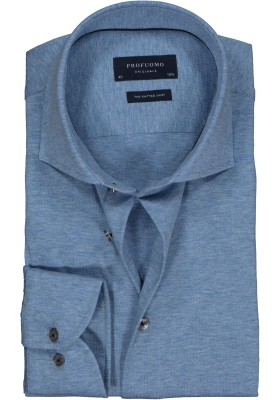 Profuomo Slim Fit jersey overhemd, jeans blauw melange knitted shirt