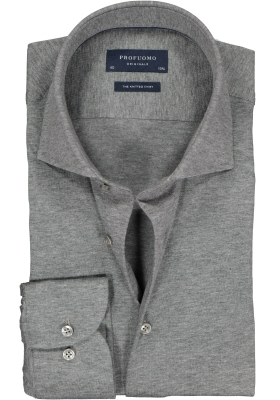 Profuomo Slim Fit jersey overhemd, antraciet grijs melange knitted shirt