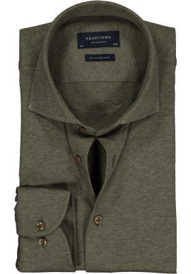 Profuomo Slim Fit jersey overhemd, army groen melange knitted shirt