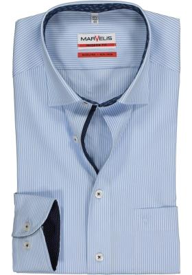 MARVELIS Modern Fit overhemd, lichtblauw-wit gestreept (contrast)