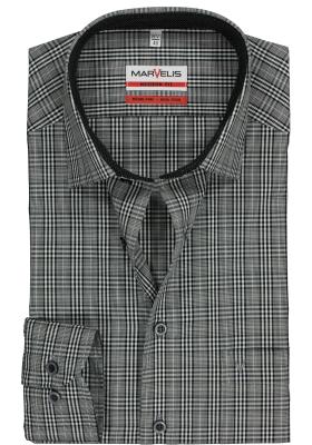 MARVELIS Modern Fit overhemd, zwart-wit geruit (contrast)