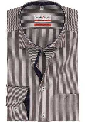 MARVELIS Modern Fit overhemd, bordeaux-wit gestreept (contrast)