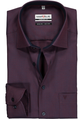 MARVELIS Comfort Fit, overhemd, bordeaux rood structuur (contrast)