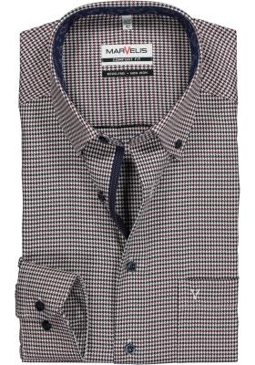 MARVELIS Comfort Fit, overhemd, blauw-bordeaux twill pied de poule (contrast)
