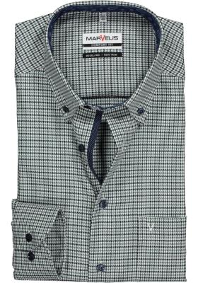 MARVELIS Comfort Fit, overhemd, blauw-groen twill pied de poule (contrast)