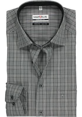 MARVELIS Comfort Fit, overhemd, zwart-wit geruit (contrast)