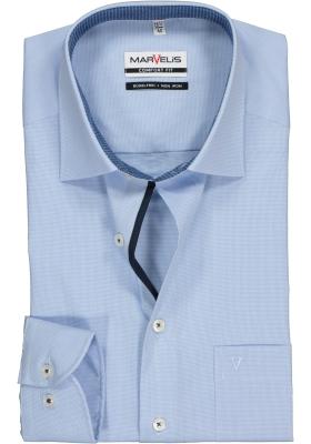 MARVELIS Comfort Fit, overhemd, lichtblauw met wit pepita ruitje (contrast)