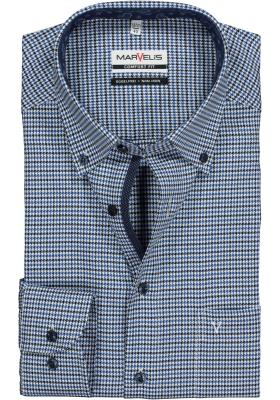 MARVELIS Comfort Fit, overhemd, blauw-kobalt twill pied de poule (contrast)