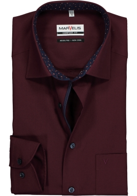 MARVELIS Comfort Fit, overhemd, bordeaux rood (contrast)