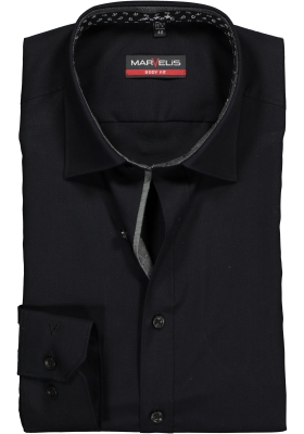 MARVELIS Body Fit overhemd, zwart (contrast)