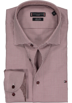 Tommy Hilfiger Micro design classic shirt, mouwlengte 7, Regular Fit donkerrood houndstooth