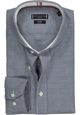Tommy Hilfiger Houndstooth Classic Slim Fit overhemd, blauw-wit geruit (contrast)