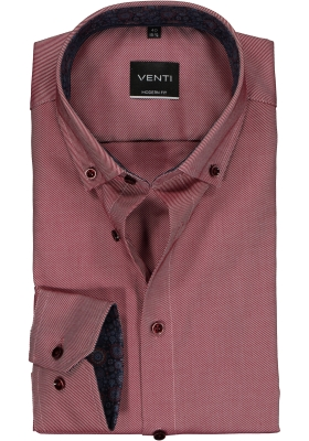Venti Modern Fit overhemd, bordeaux rood twill (contrast)