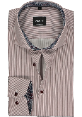 Venti Modern Fit overhemd, bordeaux - wit gestreept (contrast)