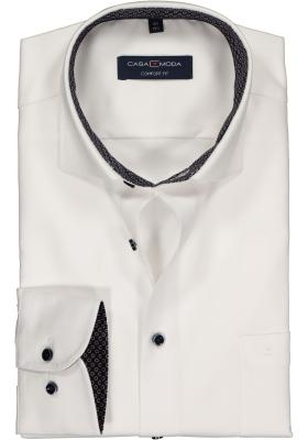 Casa Moda Comfort Fit overhemd, wit twill (blauw gestipt contrast)