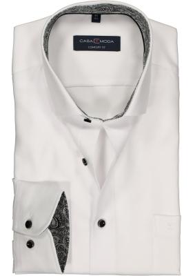 Casa Moda Comfort Fit overhemd, wit twill (zwart paisley contrast)