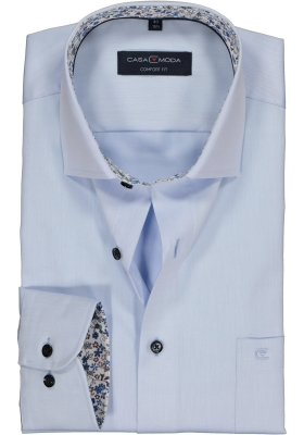 Casa Moda Comfort Fit overhemd, lichtblauw twill (gebloemd contrast)
