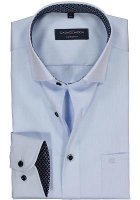 Casa Moda Comfort Fit overhemd, lichtblauw twill (blauw gestipt contrast)