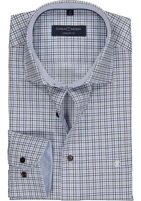 Casa Moda Comfort Fit overhemd, blauw geruit twill (contrast)