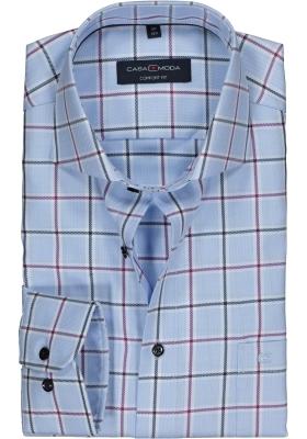 Casa Moda Comfort Fit overhemd, lichtblauw geruit structuur