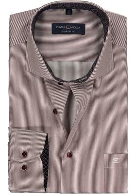 Casa Moda Comfort Fit overhemd, bordeaux-wit gestreept twill (blauw gestipt contrast)