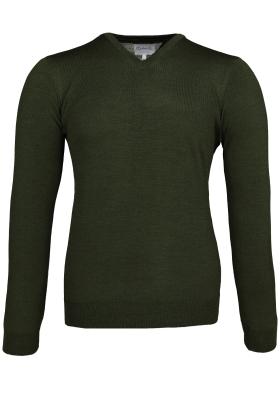 Michaelis Slim Fit v-hals trui wol, army groen