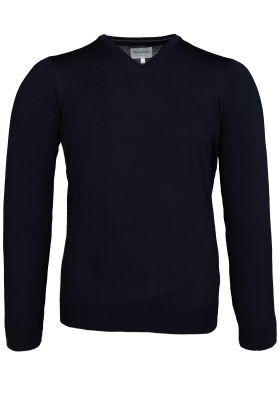 Michaelis Slim Fit v-hals trui wol, navy blauw