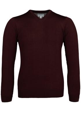 Michaelis Slim Fit v-hals trui wol, bordeaux rood
