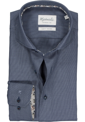 Michaelis Slim Fit overhemd, blauw birdseye dessin (contrast)