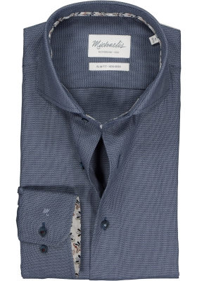 Michaelis Slim Fit overhemd, mouwlengte 7, blauw birdseye dessin (contrast)