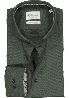 Michaelis Slim Fit overhemd, groen birdseye dessin (contrast)