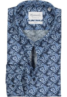 Michaelis Slim Fit overhemd, blauw bloemetjes dessin