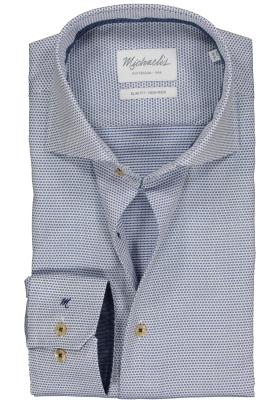 Michaelis Slim Fit overhemd, mouwlengte 7, blauw dobby structuur (contrast)