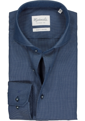 Michaelis Slim Fit overhemd, blauw basketweave