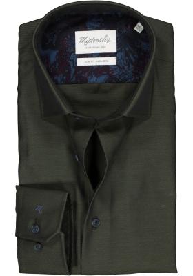Michaelis Slim Fit overhemd, mouwlengte 7, olijfgroen twill