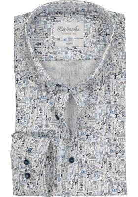 Michaelis Slim Fit overhemd, blauw met wit uitvindingen print