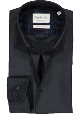 Michaelis Slim Fit overhemd, antraciet grijs twill