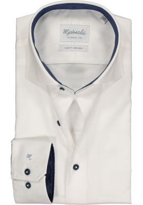 Michaelis Slim Fit overhemd, wit twill (contrast)