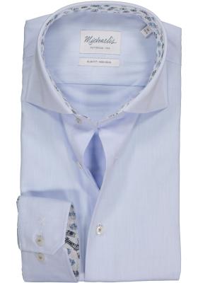Michaelis Slim Fit overhemd, mouwlengte 7, blauw twill (contrast)