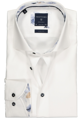 Profuomo Slim Fit overhemd, mouwlengte 7, wit twill (contrast)