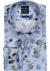 Profuomo Slim Fit overhemd, mouwlengte 7, blauw bladeren dessin