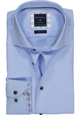 Profuomo Slim Fit overhemd, lichtblauw Oxford (contrast)