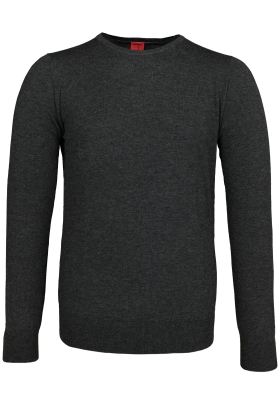 OLYMP Level 5 body fit trui wol met zijde, O-hals, antraciet grijs
