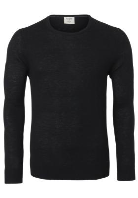 OLYMP Level 5 body fit trui wol met zijde, O-hals, zwart