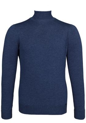 OLYMP Level 5 body fit coltrui wol, jeansblauw melange