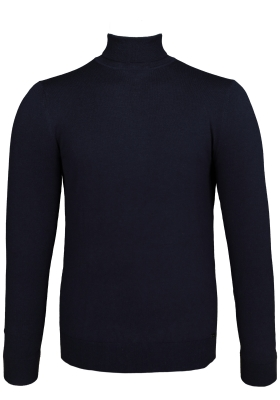 OLYMP Level 5 body fit coltrui, wol met zijde, navy blauw melange